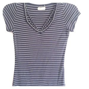Hollister Women's M Blue White Ribbed Shirt Top